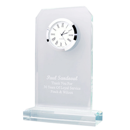 Personalized Jade Glass Quartz Desk Clock