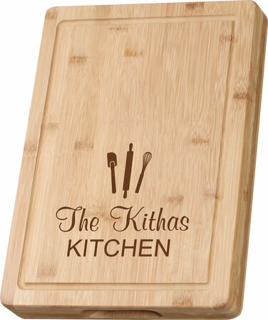 kitchen theme grooved bamboo cutting board