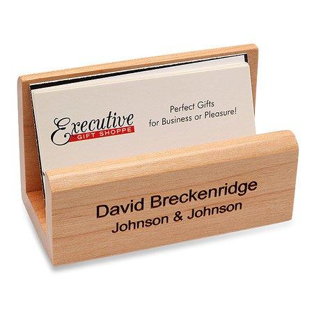 Personalized Maple Desktop Business Card Holder