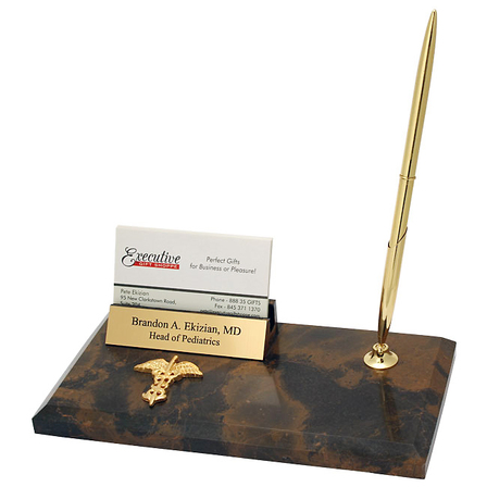 Medical Theme Business Card Holder & Pen Desk Set