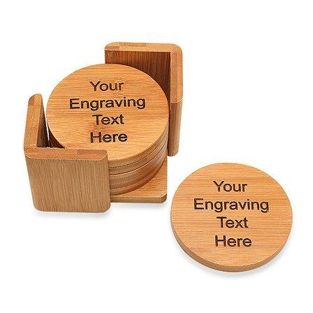 Personalized Round Bamboo Coaster Set
