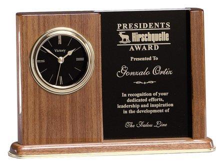 Personalized Walnut Award Clock
