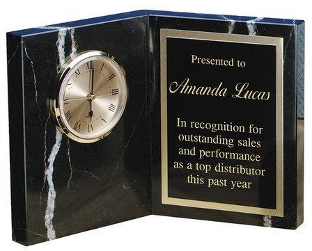 Personalized Zebra Marble Book Style Desk Clock