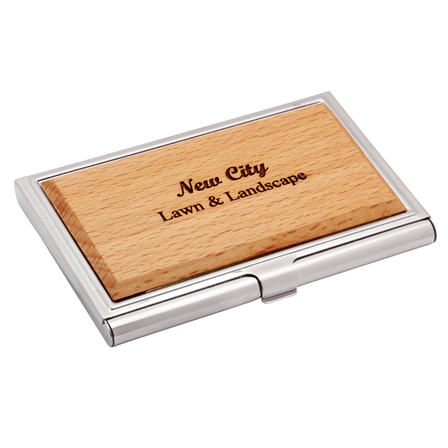Personalized Zinc & Maple Engravable Business Card Case