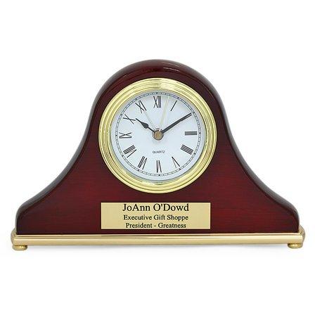 Piano Finish Rosewood Personalized Mini Mantel Clock
