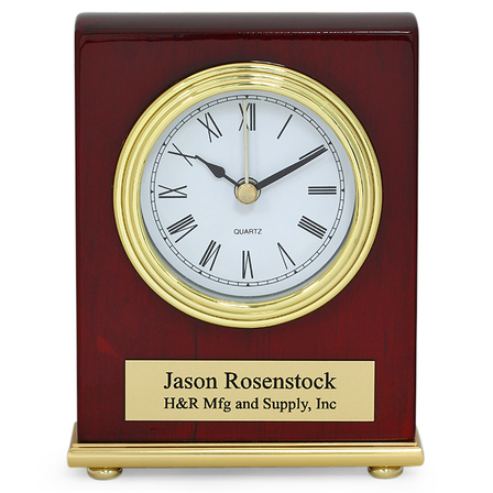 Piano Finish Rosewood Personalized Desk Clock