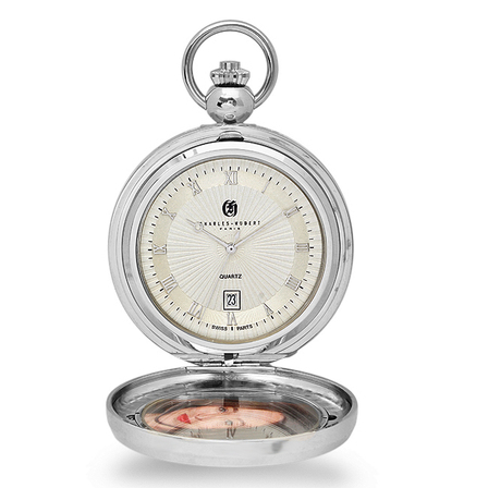 Picture Frame Quartz Charles Hubert Pocket Watch & Chain #3844