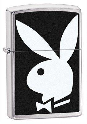 Playboy Bunny Logo Brushed Chrome Zippo Lighter - ID# 28269