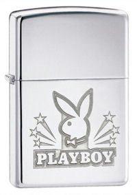 Playboy Bunny with Stars High Polish Chrome Zippo Lighter - ID# 24706