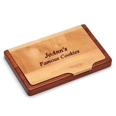 Pocket/Desktop Wood Business Card Holder With Logo Option
