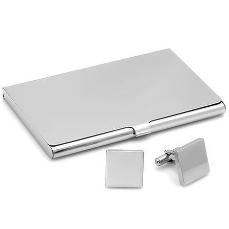 Polished Silver Engraved  Business Card Holder & Cufflinks Gift Set