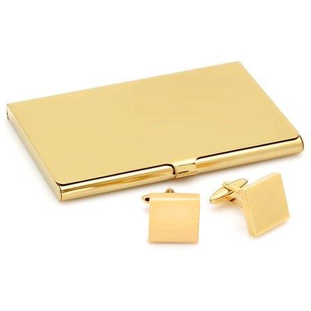Polished Gold Engraved Business Card Holder & Cufflinks Gift Set