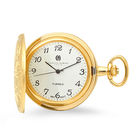 Gold Mechanical Charles Hubert Pocket Watch & Chain #3842