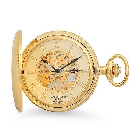 Gold Mechanical Charles Hubert Pocket Watch & Chain #3861-G