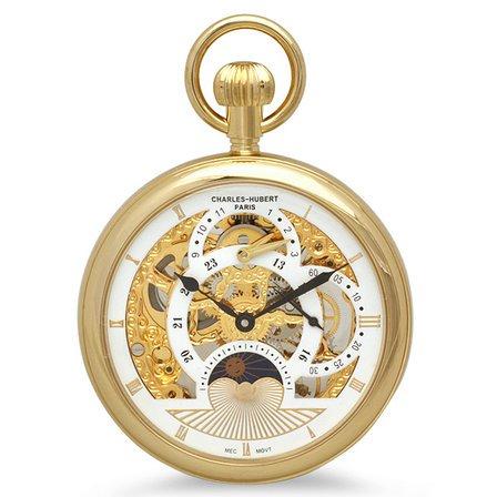 Gold Open Face Mechanical Charles Hubert Pocket Watch & Chain #3816