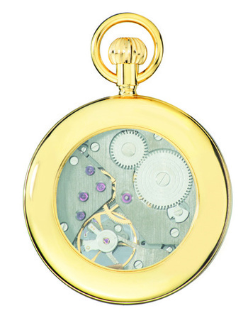 Gold Open-Faced Charles Hubert Pocket Watch & Chain #3901-G