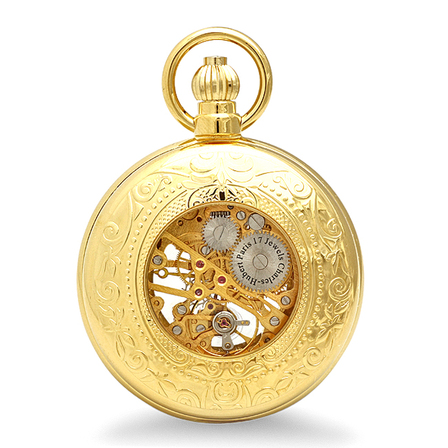 Gold Charles Hubert Mechanical Pocket Watch & Chain #3527