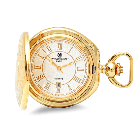 Gold Quartz Charles Hubert Pocket Watch & Chain #3781