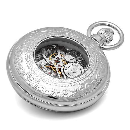 Silver Charles Hubert Mechanical Pocket Watch & Chain  #3527-W