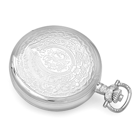 Silver Mechanical Charles Hubert Pocket Watch and Chain #3703
