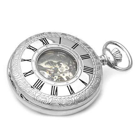 Silver Mechanical Charles Hubert Pocket Watch & Chain #3804