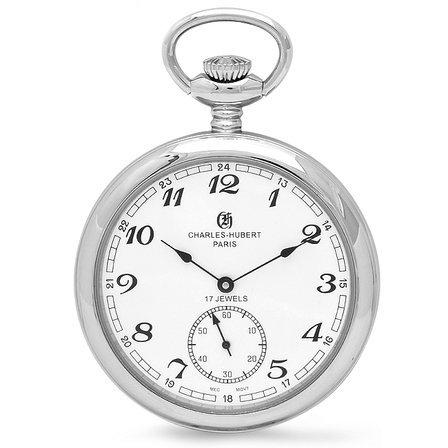Silver Open Face Charles Hubert Pocket Watch & Chain #3756-WA