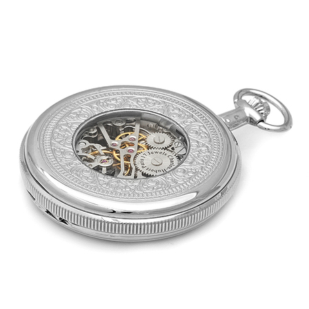Silver Charles Hubert Pocket Watch & Chain #3909-W