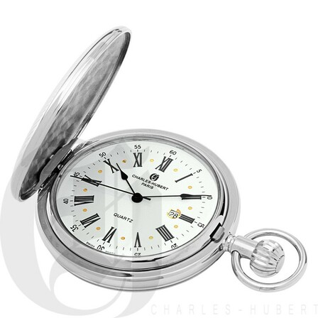 Silver Quartz Charles Hubert Pocket Watch & Chain #3817