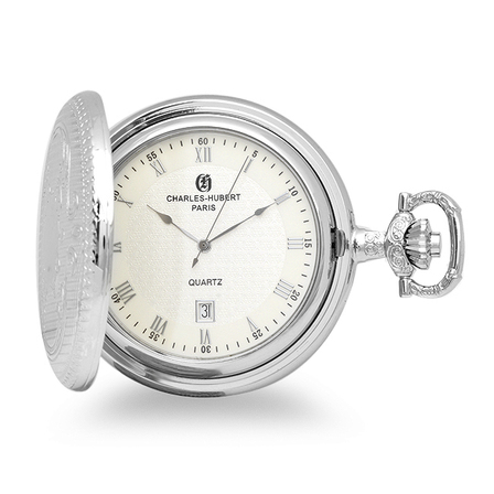 Silver Quartz Charles Hubert Pocket Watch & Chain # 3818