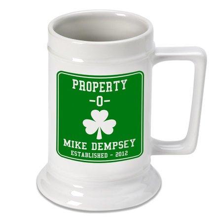 Property O Shamrock Beer Stein - Free Personalization