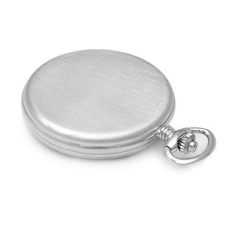 Rhodium Plated Quartz Mens Charles Hubert Pocket Watch & Chain #3726
