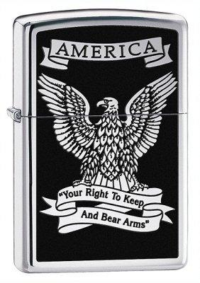 Right to Bear Arms High Polish Chrome Zippo Lighter - ID# 28290