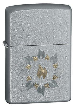 Ring of Fire Satin Chrome Zippo Lighter - ID# 21192