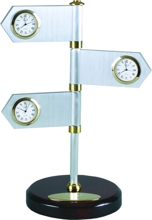 Road to Success Multi Time Zone Clock & Desk Sculpture - Discontinued