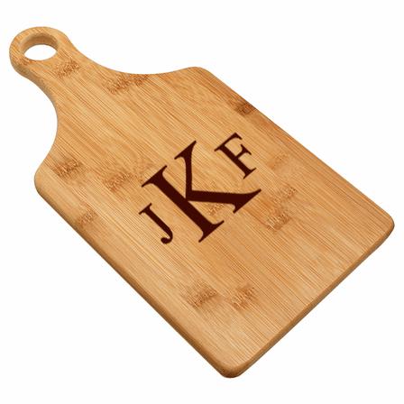 Roman Monogram  Bamboo Paddle Shape Cutting Board