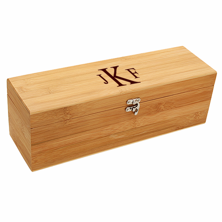 Roman Monogram  Bamboo Wine Box