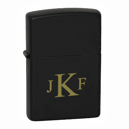 Roman Monogram  Black Matte Engravable Zippo Lighter - ID# 218