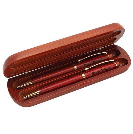 Roman Monogram  Cherrywood Double Pen and Box Set