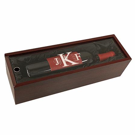 Roman Monogram  Single Bottle Wine Presentation Box with See-Through Lid