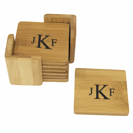 Roman Monogram   Square Bamboo Coaster Set