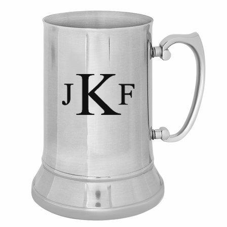 Roman Monogram   Stainless Steel Beer Mug