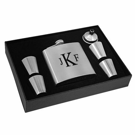 Roman Monogram  Steel Flask & Shot Cups Gift Set