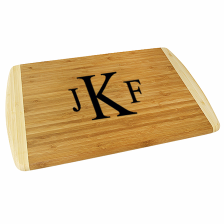 Roman Monogram  Two Tone Bamboo Cutting Board - Small