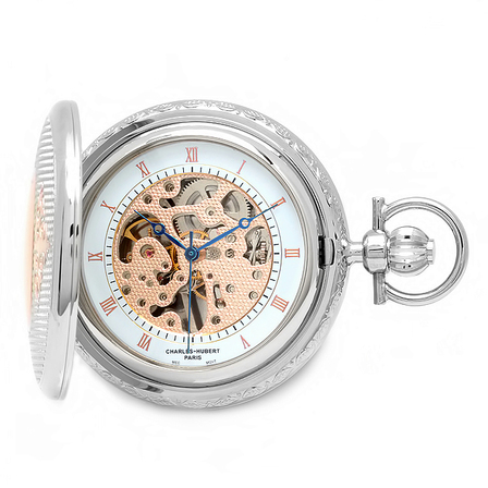 Rose Gold Charles Hubert Pocket Watch & Chain #3805