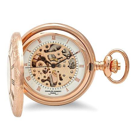 Rose Gold Mechanical Charles Hubert Pocket Watch & Chain #3806