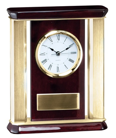 Rosewood & Brass Tone Aluminum Personalized Desktop Clock