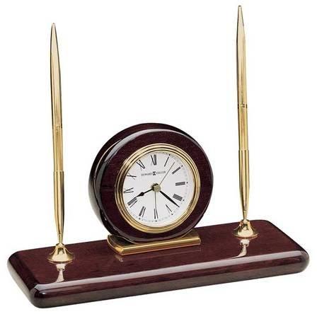 Rosewood Desk Set Desktop Clock by Howard Miller