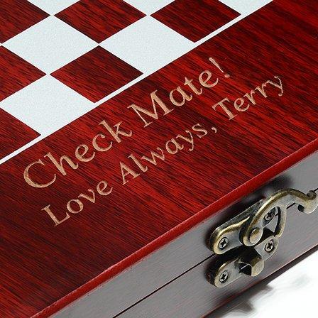 Rosewood Finish Personalized Chess Set