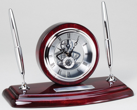 Rosewood & Silver Personalized  Dual Pen Stand & Clock