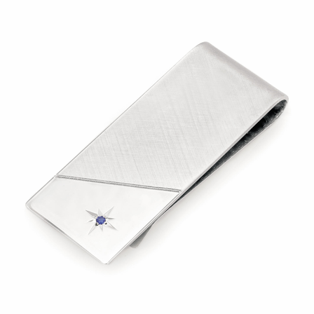 Sapphire Engraved Sterling Silver French Fold Money Clip
